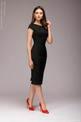 Платье-футляр черного цвета из жаккарда купить в интернет-магазине