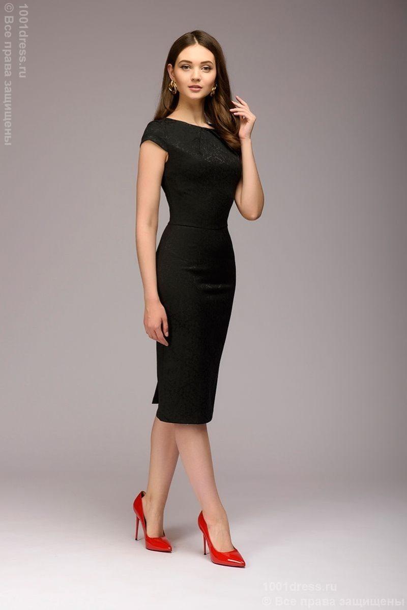 Платье-футляр черного цвета из жаккарда dm00380bk-2