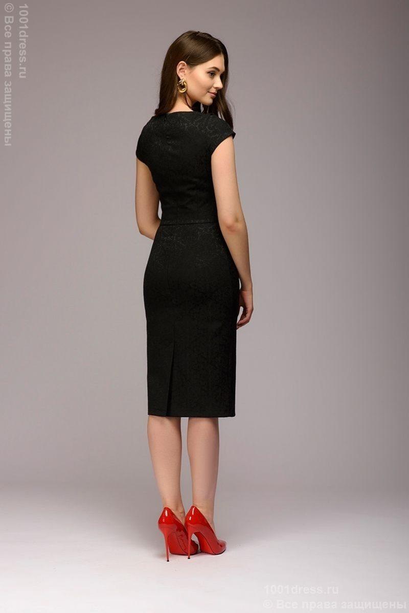 Платье-футляр черного цвета из жаккарда dm00380bk-3