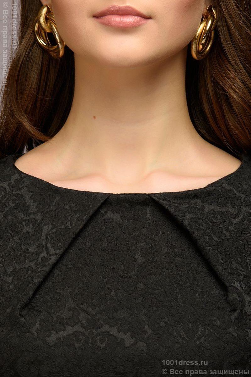 Платье-футляр черного цвета из жаккарда dm00380bk-4
