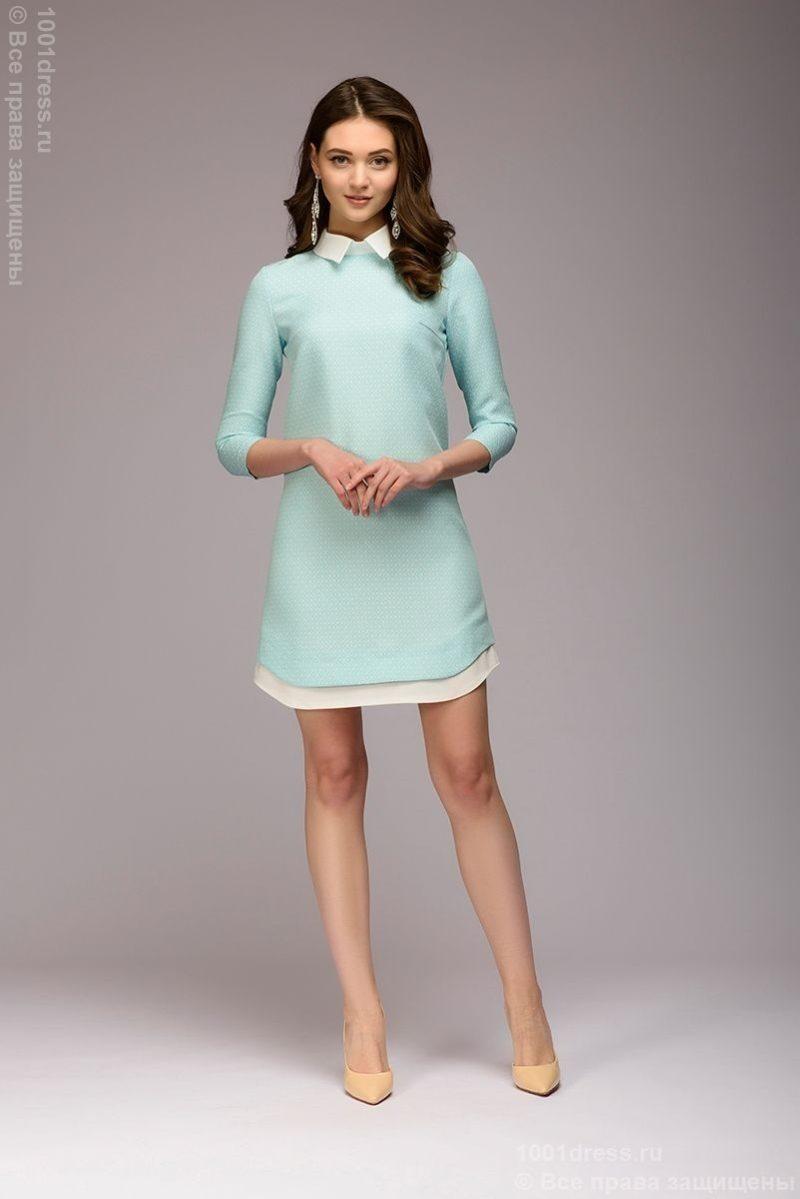 Платье-рубашка свободного кроя с голубым принтом и белой отделкой купить в интернет-магазине