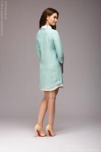 Заказать Платье-рубашка свободного кроя с голубым принтом и белой отделкой с бесплатной доставкой по России