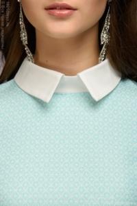 Купить Платье-рубашка свободного кроя с голубым принтом и белой отделкой в магазине женской одежды в Воронеже