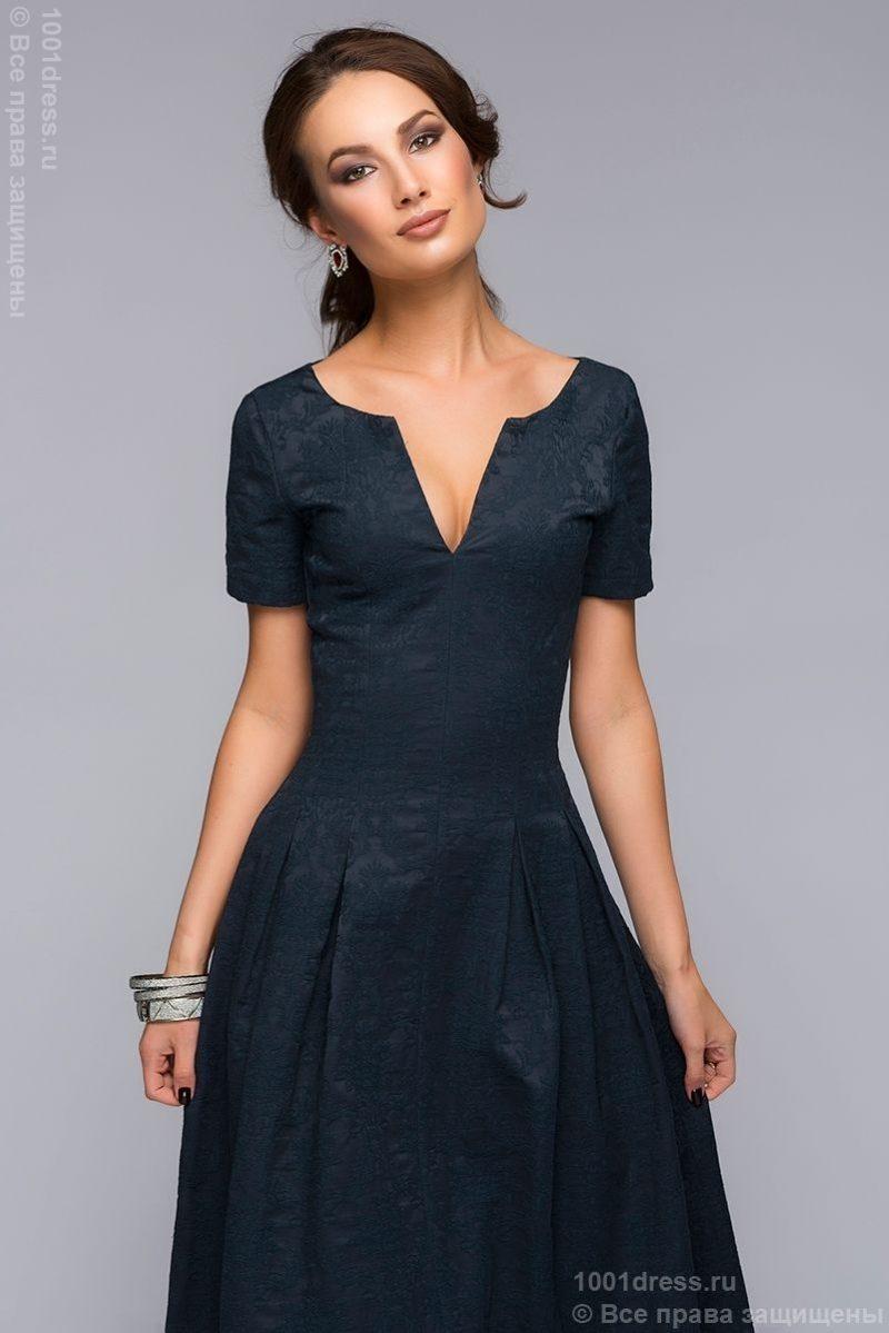 Вечернее платье макси темно-синего цвета с вырезом на груди dm00383db-2