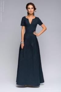 Заказать Вечернее платье макси темно-синего цвета с вырезом на груди с бесплатной доставкой по России