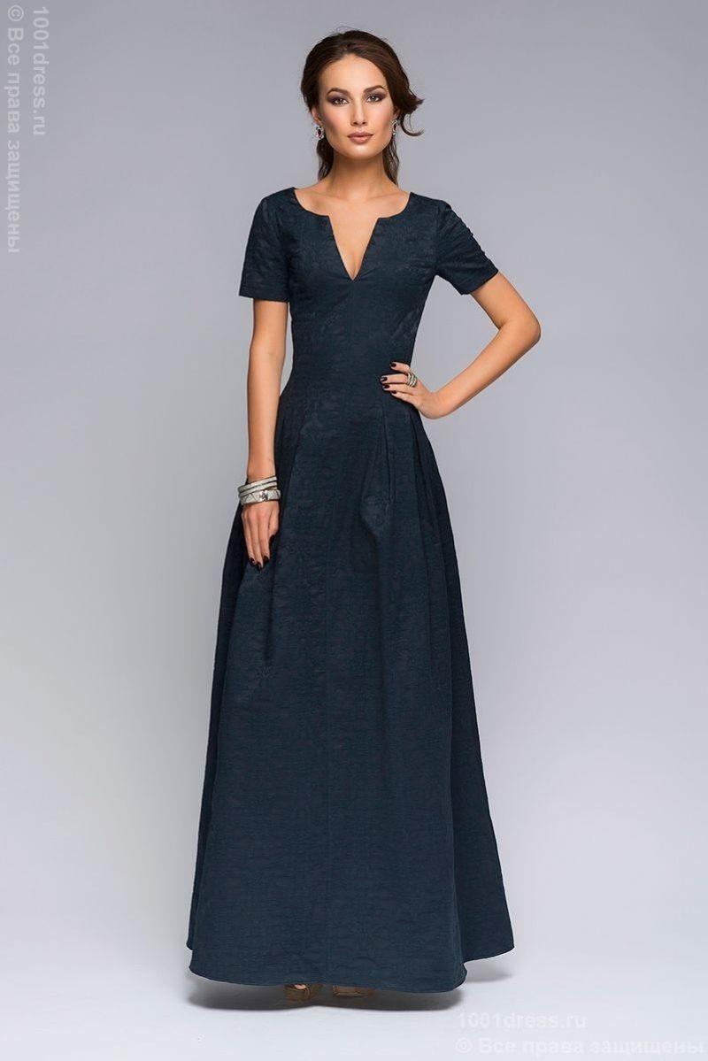 Вечернее платье макси темно-синего цвета с вырезом на груди dm00383db-3