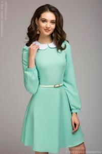 Короткое платье мятного цвета с белым воротничком купить в Воронеже