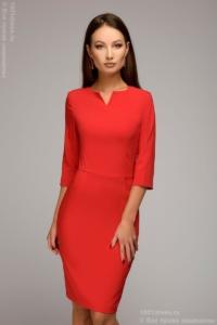 Красное платье-футляр с рукавами 3/4 купить в Воронеже