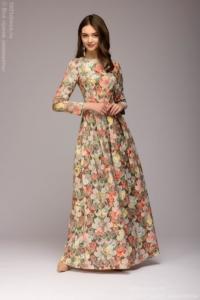 Платье макси с оранжевым цветочным принтом и длинными рукавами купить в Воронеже
