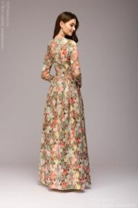 Заказать Платье макси с оранжевым цветочным принтом и длинными рукавами с бесплатной доставкой по России