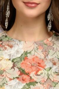Купить Платье макси с оранжевым цветочным принтом и длинными рукавами в магазине женской одежды в Воронеже