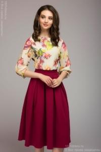 Платье миди с бордовой юбкой и цветочным принтом купить в Воронеже