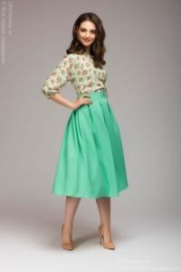 Платье миди с мятной юбкой и цветочным принтом купить в Воронеже