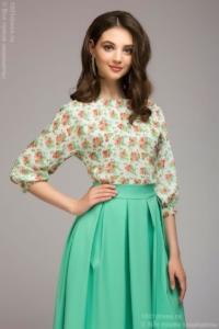 Платье миди с мятной юбкой и цветочным принтом купить в интернет-магазине