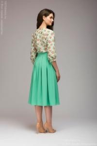 Заказать Платье миди с мятной юбкой и цветочным принтом с бесплатной доставкой по России