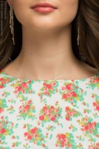 Купить Платье миди с мятной юбкой и цветочным принтом в магазине женской одежды в Воронеже