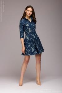 Синее короткое платье с принтом, рубашечным верхом и расклешенной юбкой купить в интернет-магазине