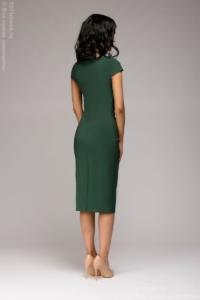 Заказать Платье-футляр зеленого цвета с драпировкой на талии и короткими рукавами с бесплатной доставкой по России