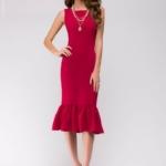 Платье миди малинового цвета без рукавов с воланом по низу ak00039pk-2