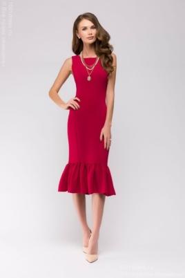 Платье миди малинового цвета без рукавов с воланом по низу купить в иннетрнет-магазине