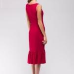 Платье миди малинового цвета без рукавов с воланом по низу ak00039pk-3