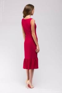 Заказать Платье миди малинового цвета без рукавов с воланом по низу с бесплатной доставкой по России