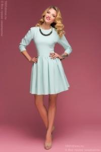 Платье мини мятного цвета с принтом «круги» и пышной юбкой купить в интернет-магазине