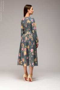 Заказать Синее платье миди с цветочным принтом и длинными рукавами с бесплатной доставкой по России