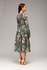 Заказать Серое платье миди с цветочным принтом и длинными рукавами с бесплатной доставкой по России