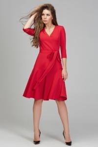 """Коралловое платье длины миди с юбкой """"годе"""" и рукавами 3/4 купить в интернет-магазине"""