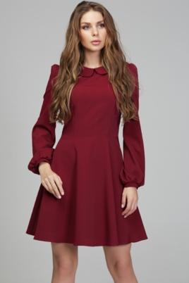 """Короткое платье вишневого цвета с расклешенной юбкой и рукавом """"фонарик"""" купить в интернет-магазине"""