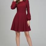 Короткое платье вишневого цвета с расклешенной юбкой и рукавом «фонарик» ds00290ch-2