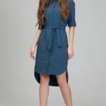 Платье-рубашка синего цвета с асимметричным низом и поясом ds00285bl-1