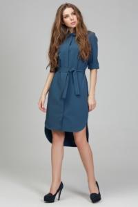 Платье-рубашка синего цвета с асимметричным низом и поясом купить в Воронеже