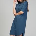 Платье-рубашка синего цвета с асимметричным низом и поясом ds00285bl-2