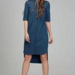 Платье-рубашка синего цвета с асимметричным низом и поясом ds00285bl-3