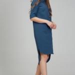 Платье-рубашка синего цвета с асимметричным низом и поясом ds00285bl-4