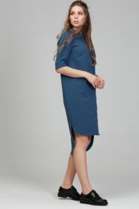 Купить Платье-рубашка синего цвета с асимметричным низом и поясом в магазине женской одежды в Воронеже