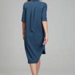 Платье-рубашка синего цвета с асимметричным низом и поясом ds00285bl-5