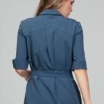 Платье-рубашка синего цвета с асимметричным низом и поясом ds00285bl-6