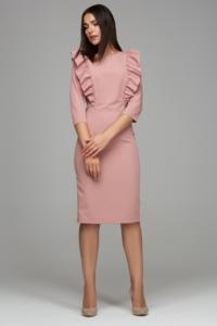Пепельно-розовое платье-футляр длины миди с воланами на груди и рукавами 3/4 купить в Воронеже