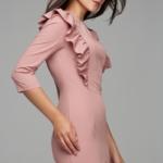 Пепельно-розовое платье-футляр длины миди с воланами на груди и рукавами 3/4 ds00295sp-2