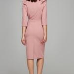 Пепельно-розовое платье-футляр длины миди с воланами на груди и рукавами 3/4 ds00295sp-4