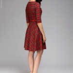"""Красное платье мини с принтом """"шотландская клетка"""" dm00928rd-3"""