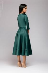Заказать Изумрудное платье миди с глубоким декольте и рукавами 3/4 с бесплатной доставкой по России