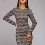 Короткое платье цвета пудры с имитацией кружева и длинными рукавами dm00890pw-1