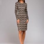 Короткое платье цвета пудры с имитацией кружева и длинными рукавами dm00890pw-2