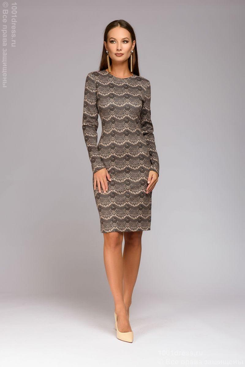 Короткое платье цвета пудры с имитацией кружева и длинными рукавами купить в интернет-магазине