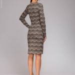 Короткое платье цвета пудры с имитацией кружева и длинными рукавами dm00890pw-3
