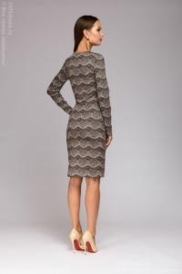 Заказать Короткое платье цвета пудры с имитацией кружева и длинными рукавами с бесплатной доставкой по России